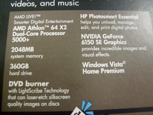 Label on the side of this computer showing hardware specifications