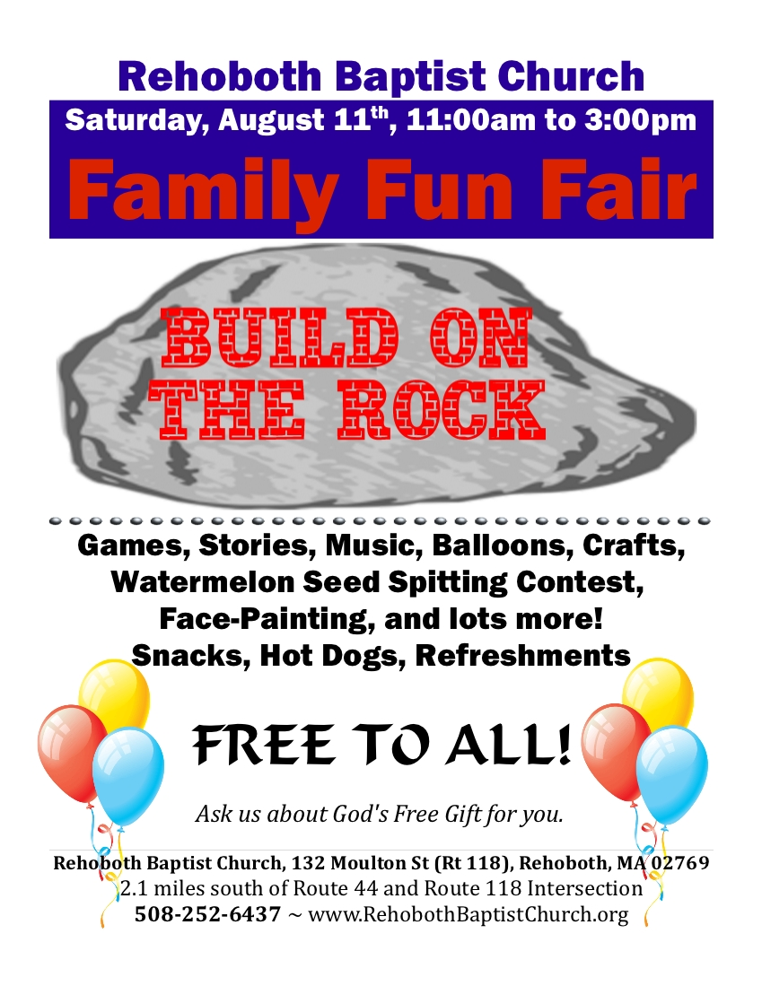 The 2012 Rehoboth Baptist Church Family Fun Fair Flyer