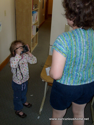K taking Mommy's photo with the old camera
