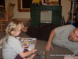 Dan and K playing Snap Circuits.