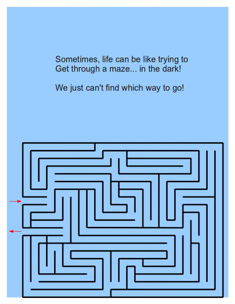 The first page of the handout, saying that life can be like going through a maze in the dark