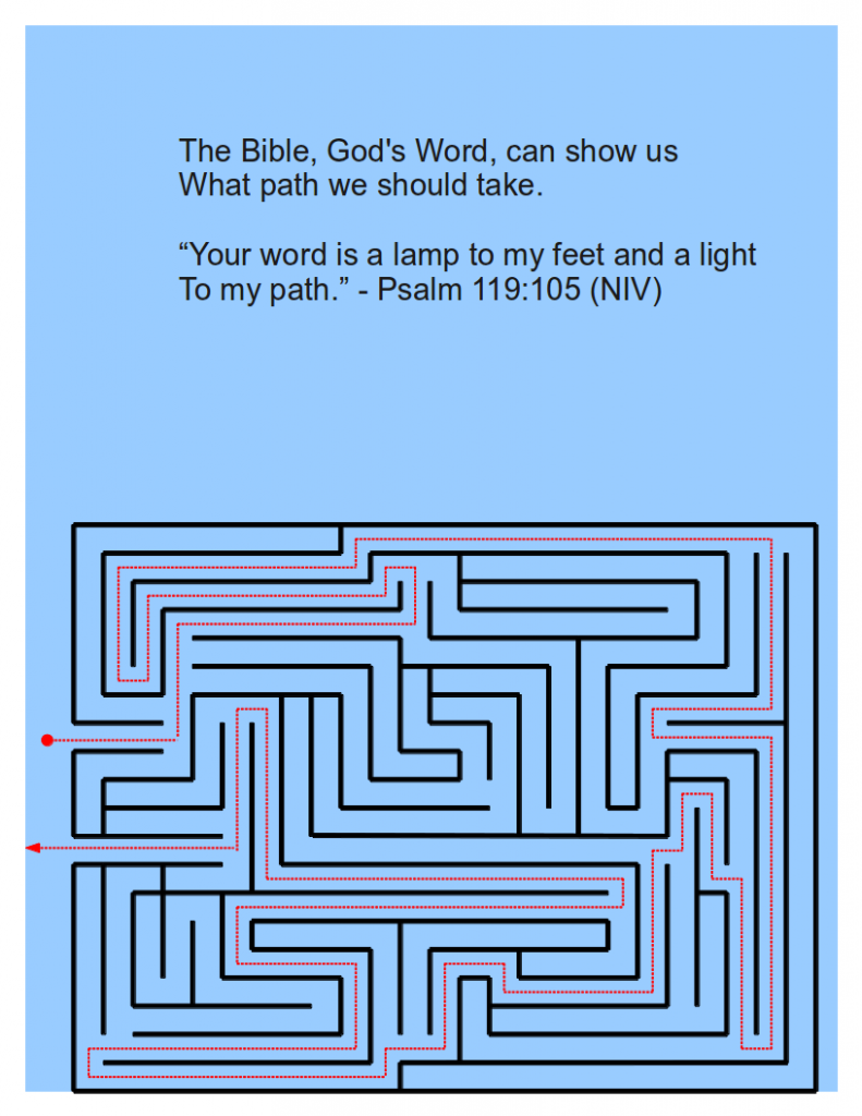 The second page of the handout, showing the correct path to take through the maze, just like the Bible tells us the path to take through life.