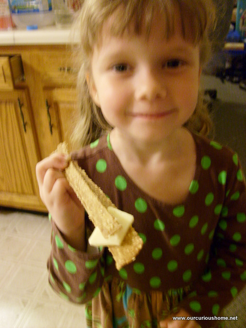 K and I made seasamee sticks - they worked well as tweezers to hold cheese too.