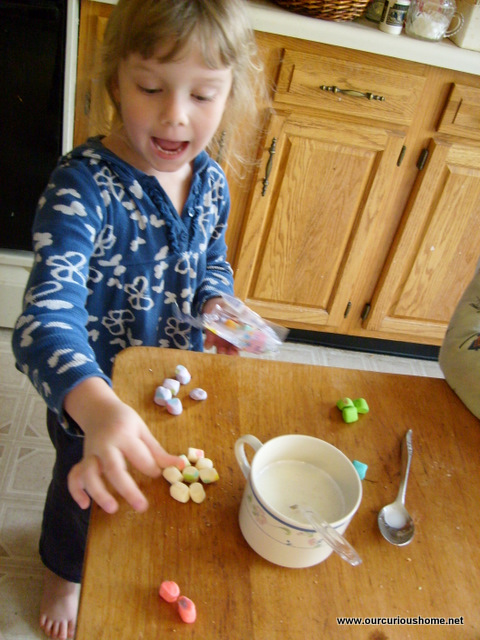 K sorts her marshmellows by color before putting them in her hot vanilla.