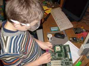 B with a circuit board
