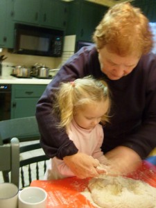 Mommom teaching K to make bicuits