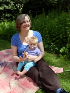 Aunt B and baby B at a picnic July 4 2009