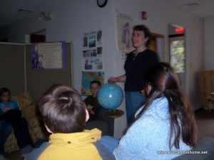 Christine Guest teaching a geography class