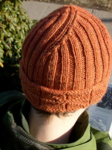 Back view of knitted Library Window Watchcap
