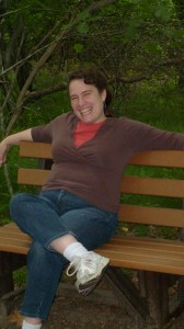 Christine sitting on a bench