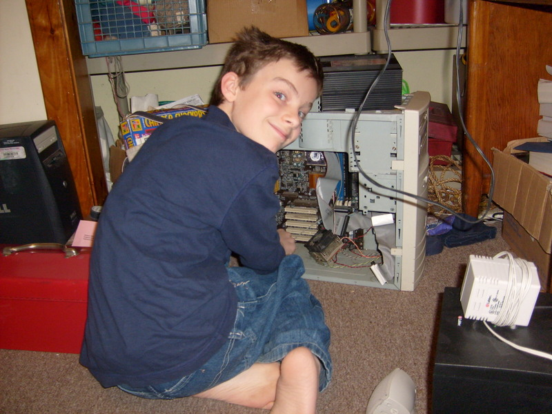 Ben working on a computer