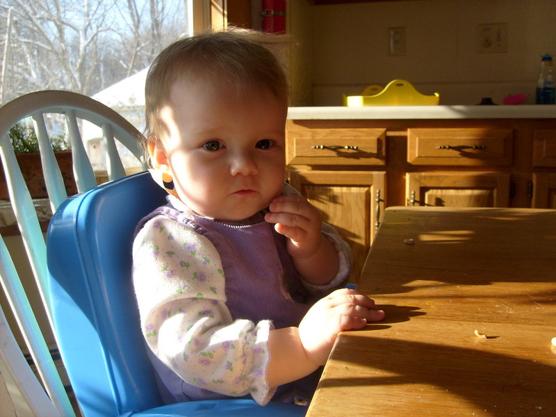 K in her high chair