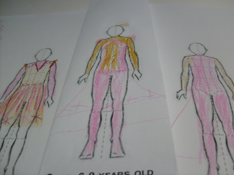 K's croquis, drawings of clothes over a basic human figure