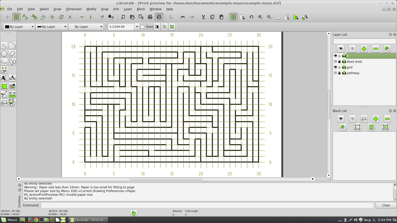 Maze plan with underlying coordinate grid