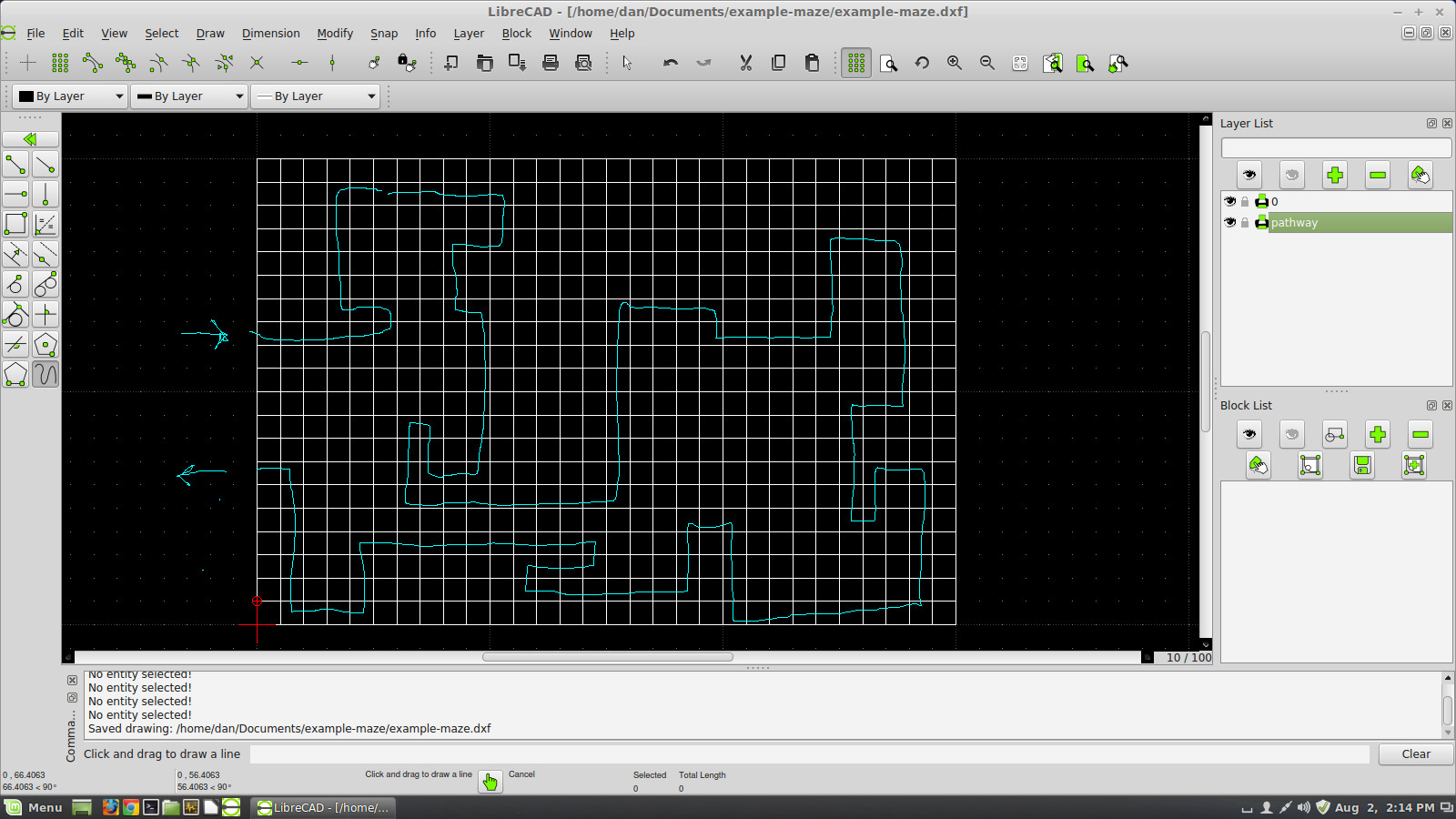 Maze grid with preliminary solution path drawn on top