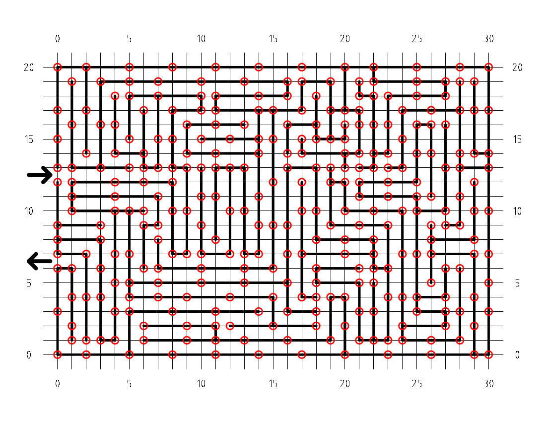 The final caution tape maze pattern, with coordinate grid and post locations shown.