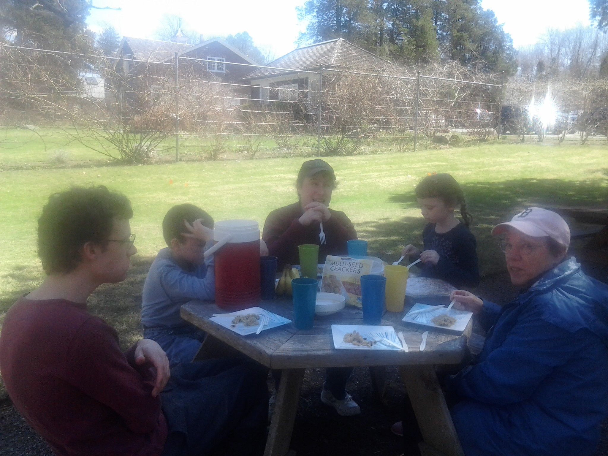 Ben, M, Me, K and Mom eating a gf picnic at Blythwold Mansion and Gardens