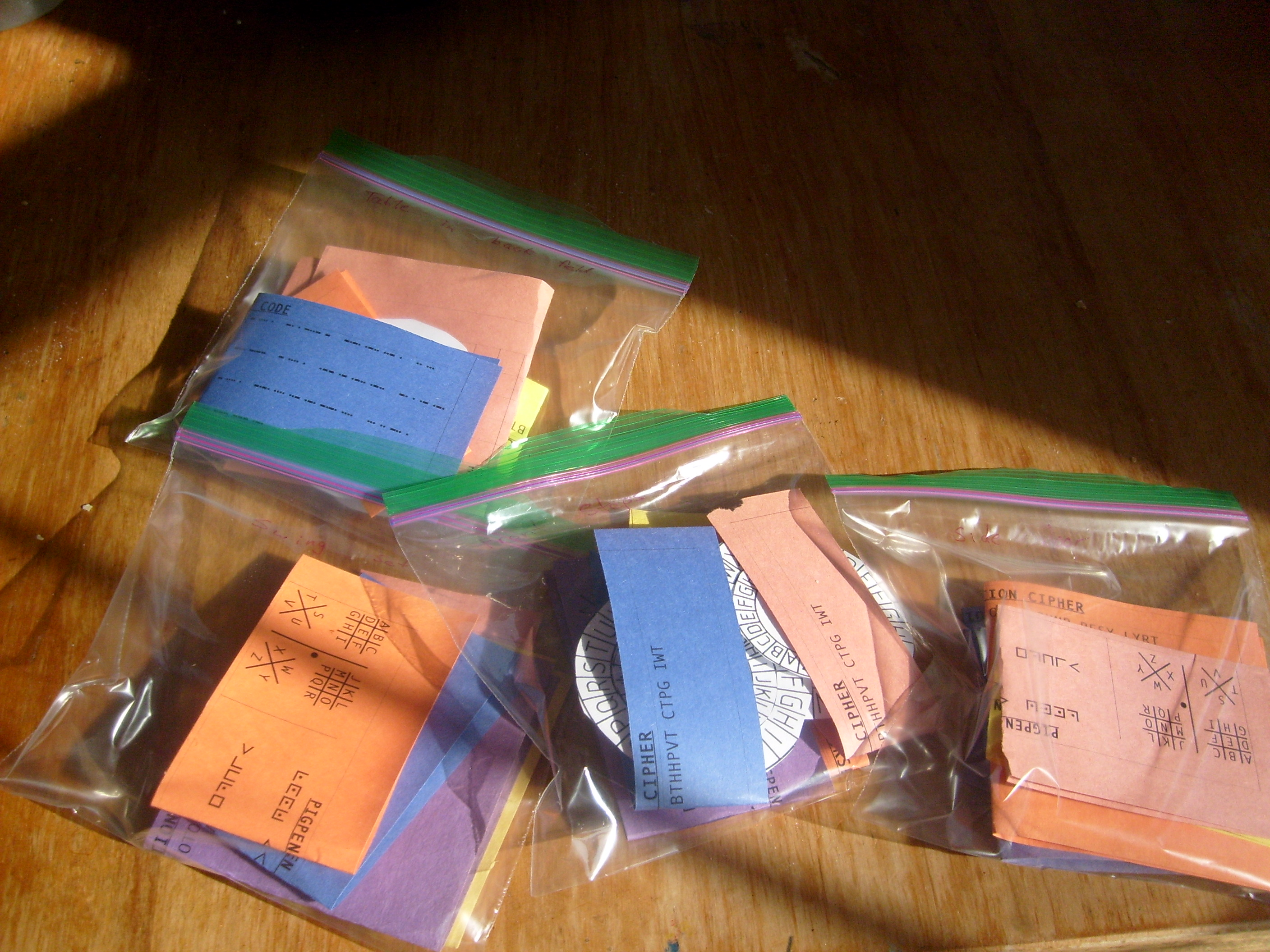 clue bags for the Eagle' Wing's Coop code class