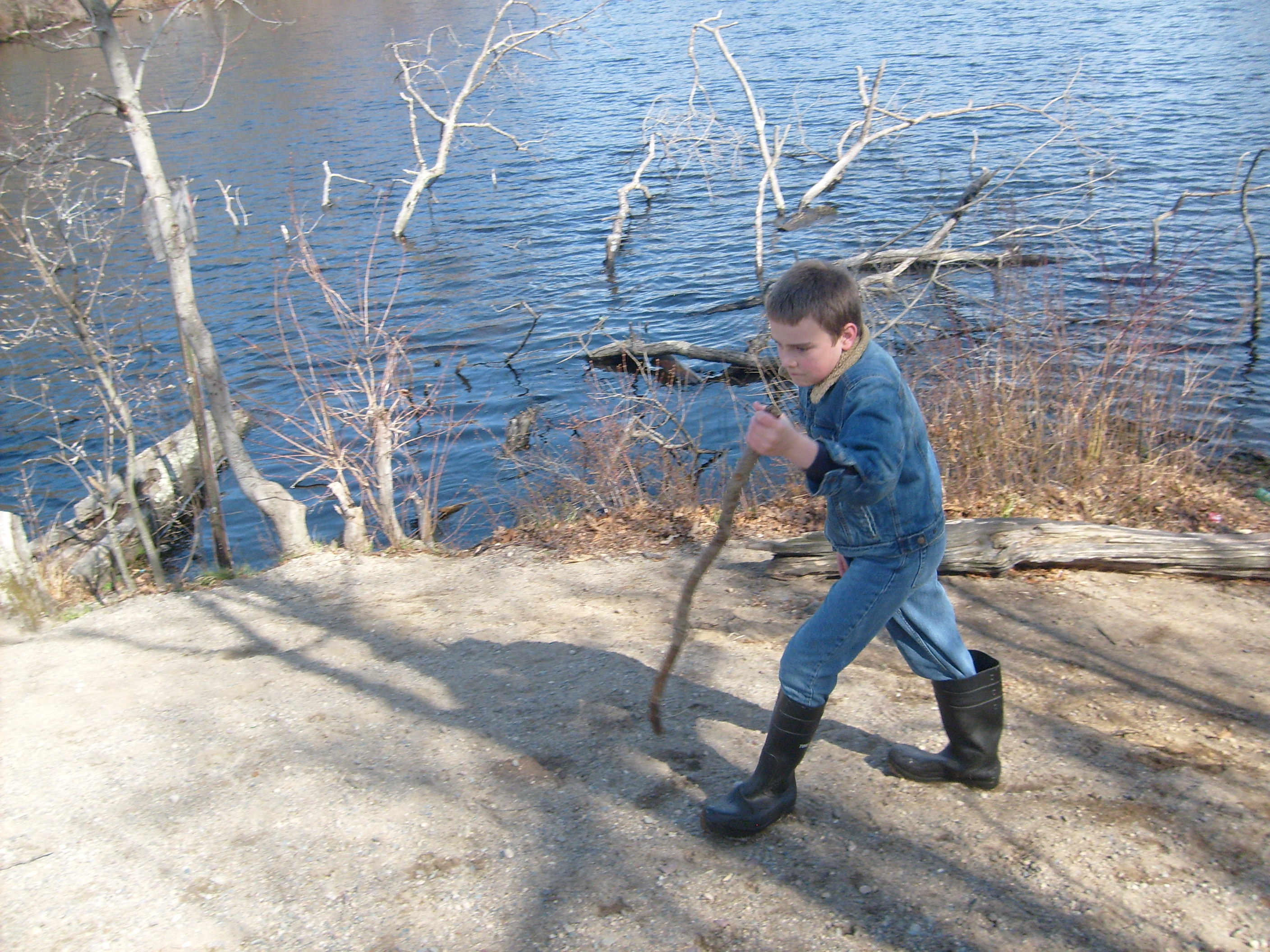 M at Mechanic's Pont (with walking stick)