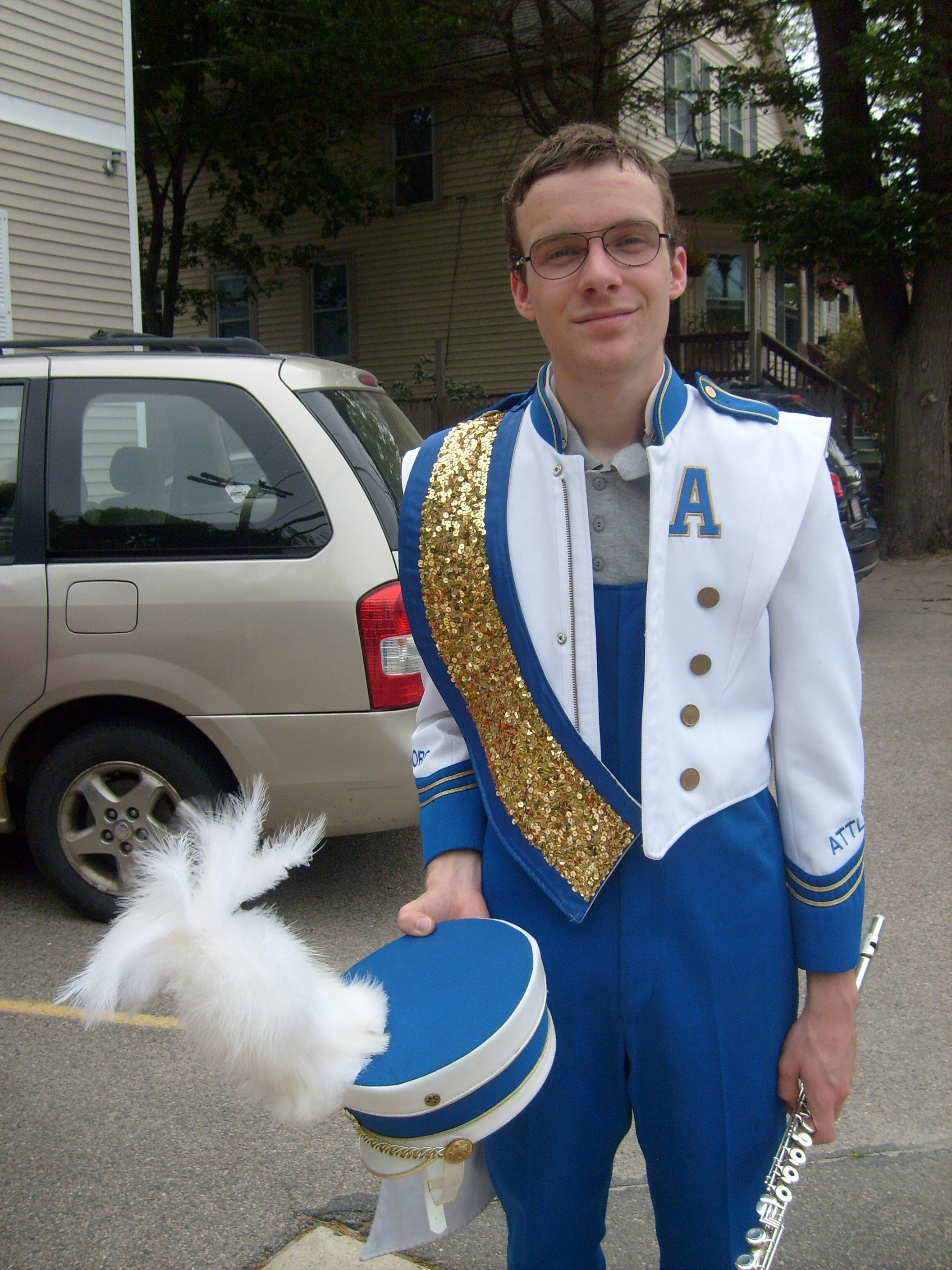 M in his band uniform after the Memorial Day Parade