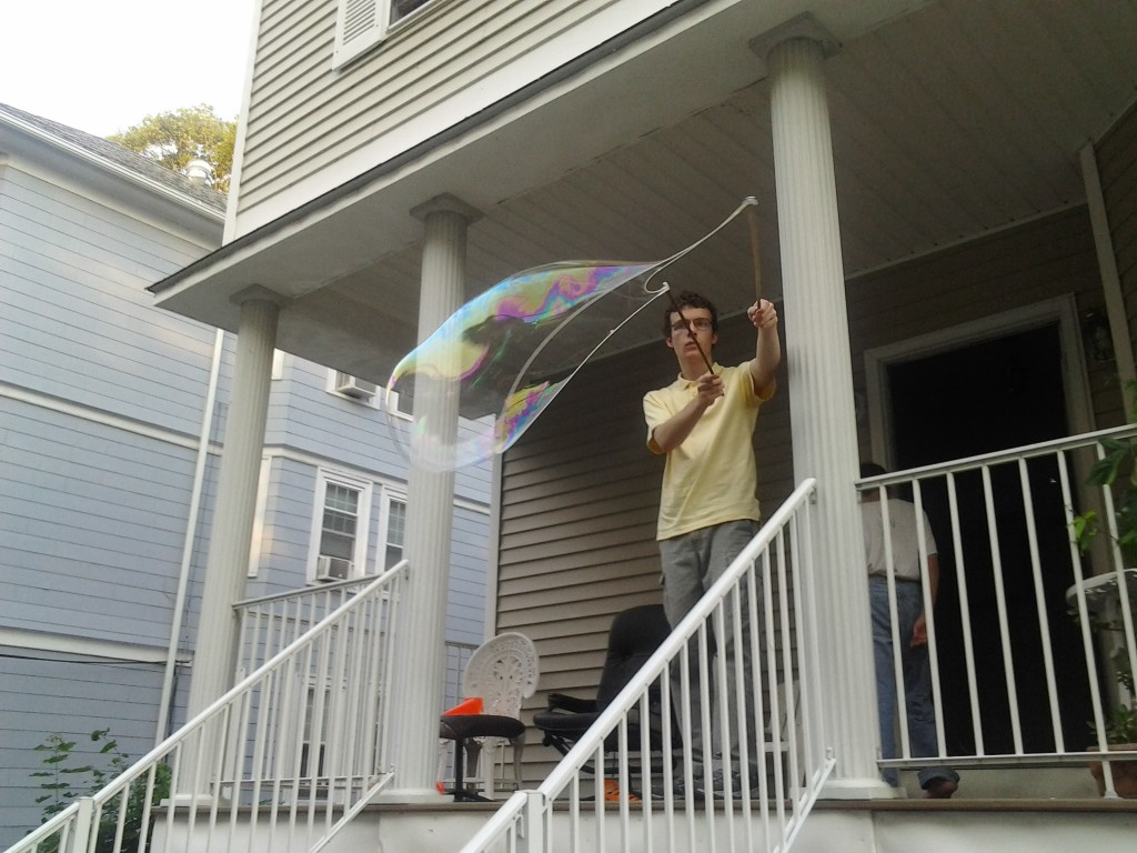 Ben making a huge bubble