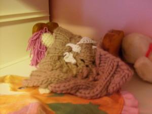 K's crocheted mermaid in bed