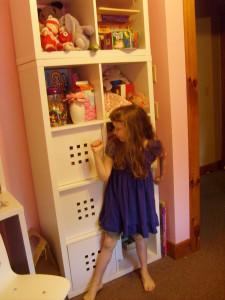 At the cubbie shelf