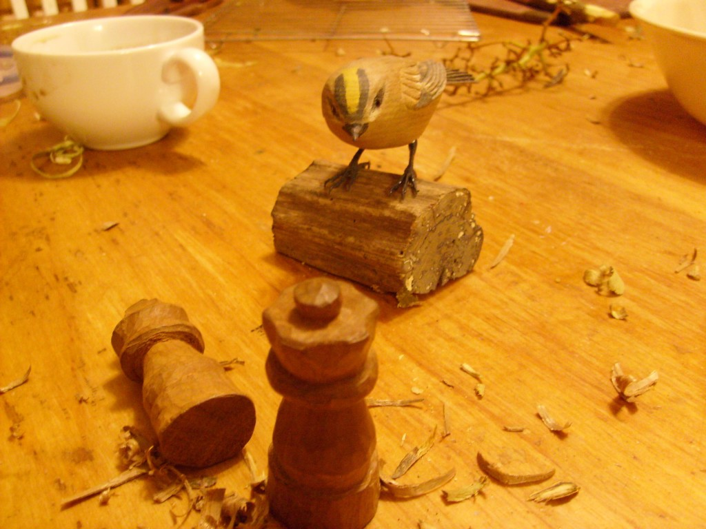 Our neighbor's bird, chess pieces, and a stray tea cup