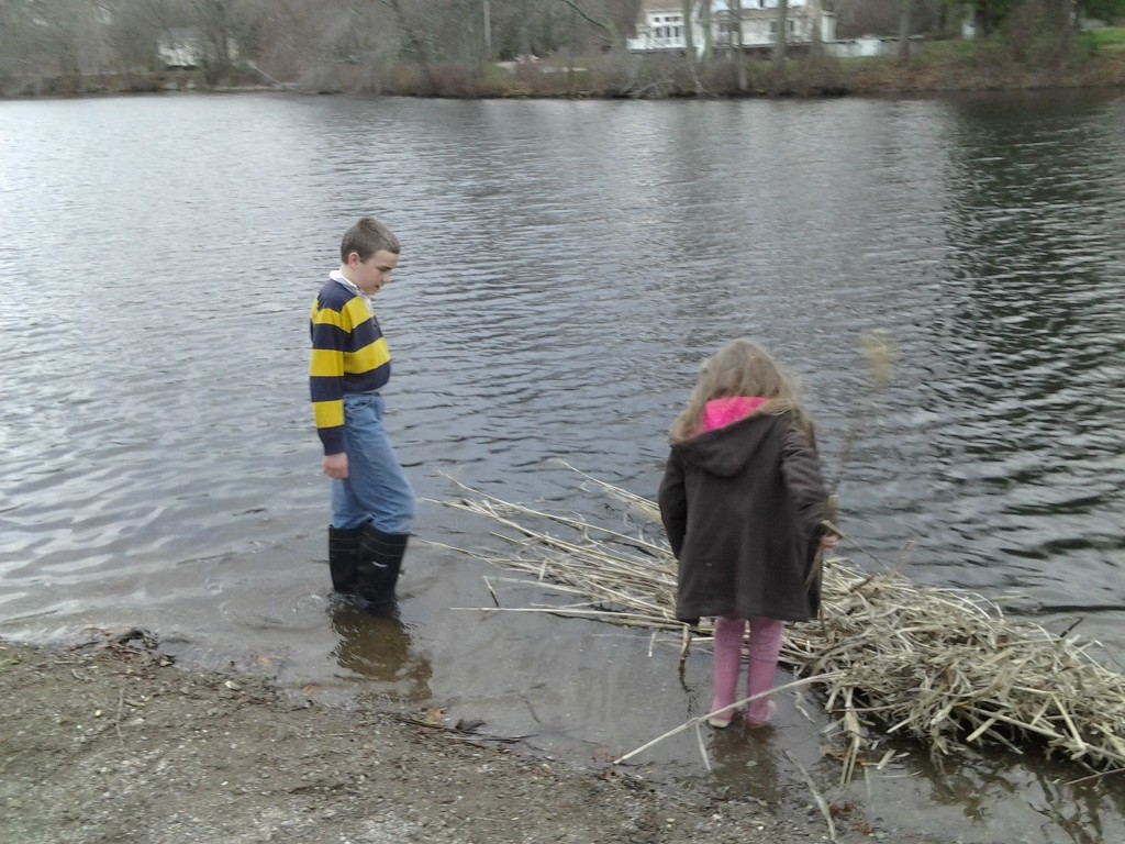 """M and K launch the SS """"ReedWreck"""" into Mechanics Pond"""