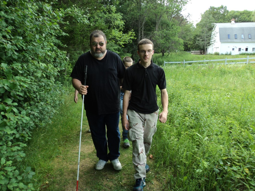 Ben and Warren on the path by the meadow