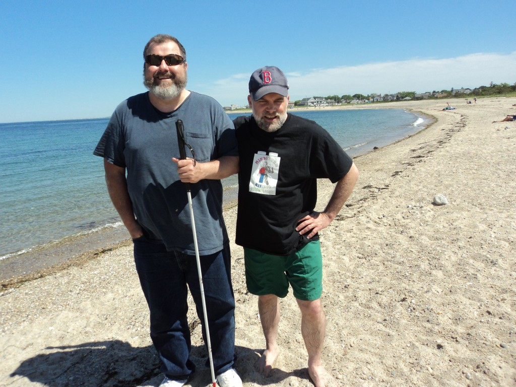 Warren and Dan on the beach at Cape Cod Cannal