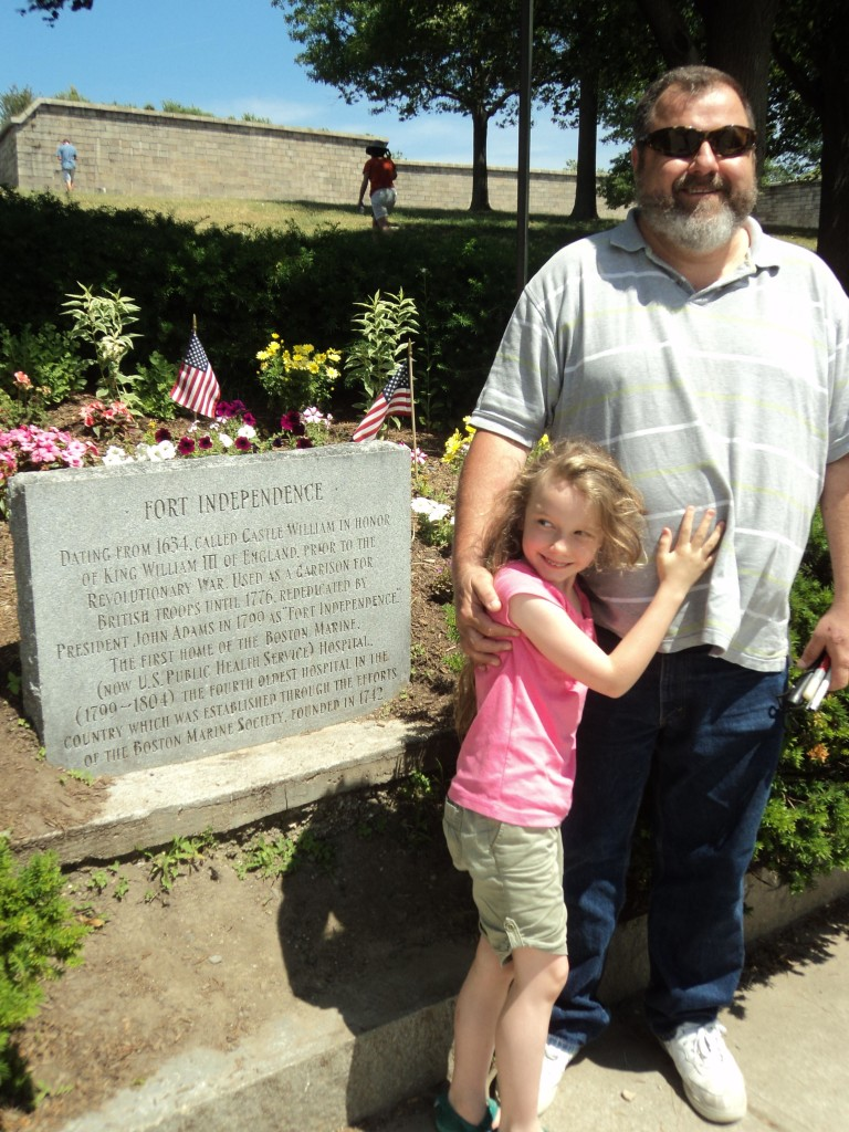 K hugging Warren by the Fort Independence marker