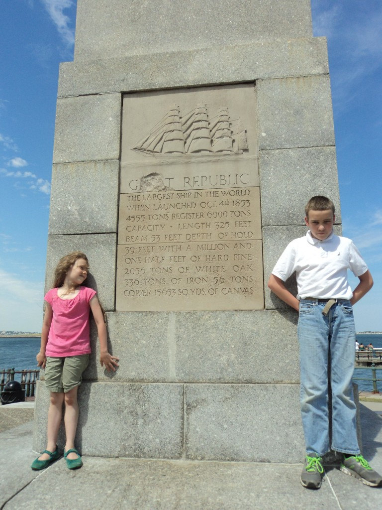 K and M in front of the Great Republic Monument at Castle Island