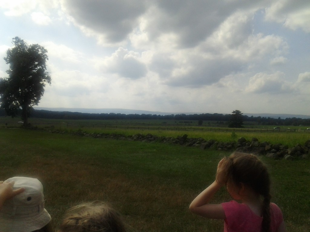 K looking out over the fields in Gettysburg