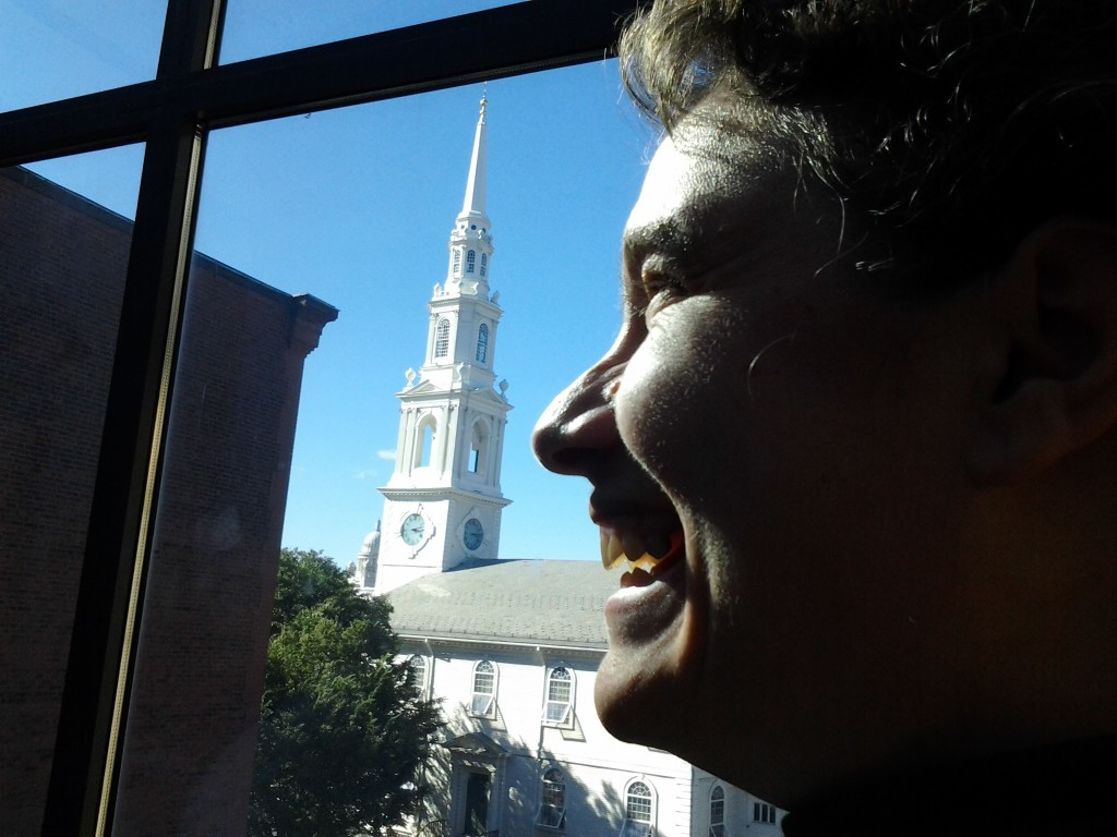 Dan's careful placing of my profile by the spire of the First Baptist Church ... In North America