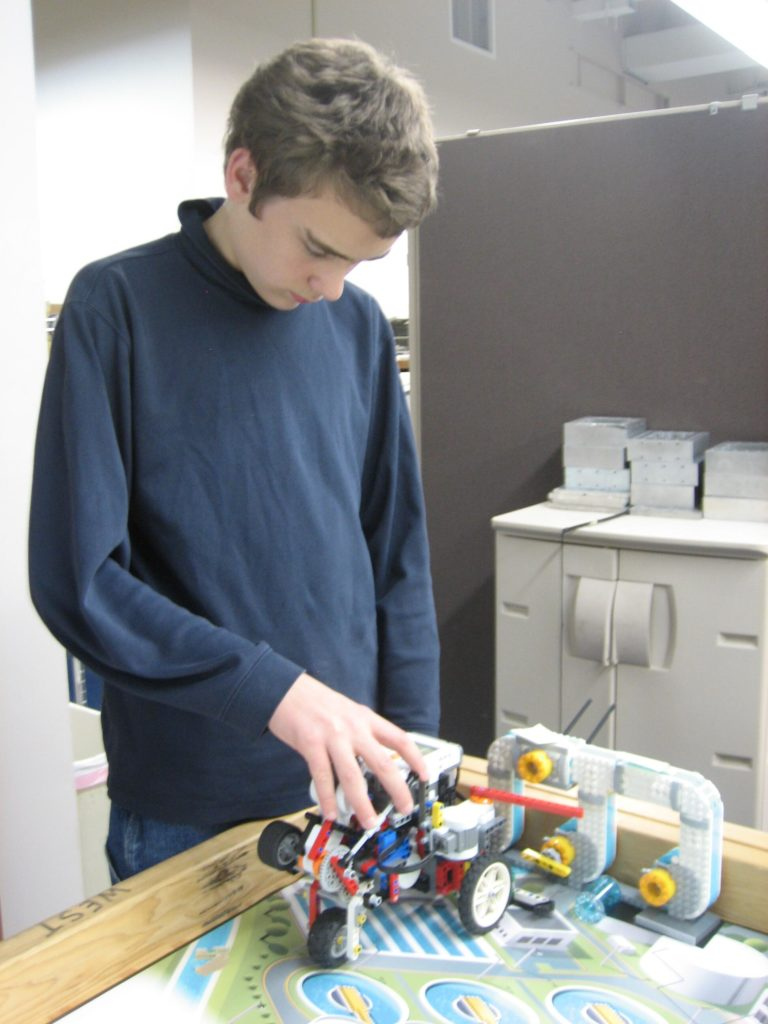 Matt with robot at Lego Club